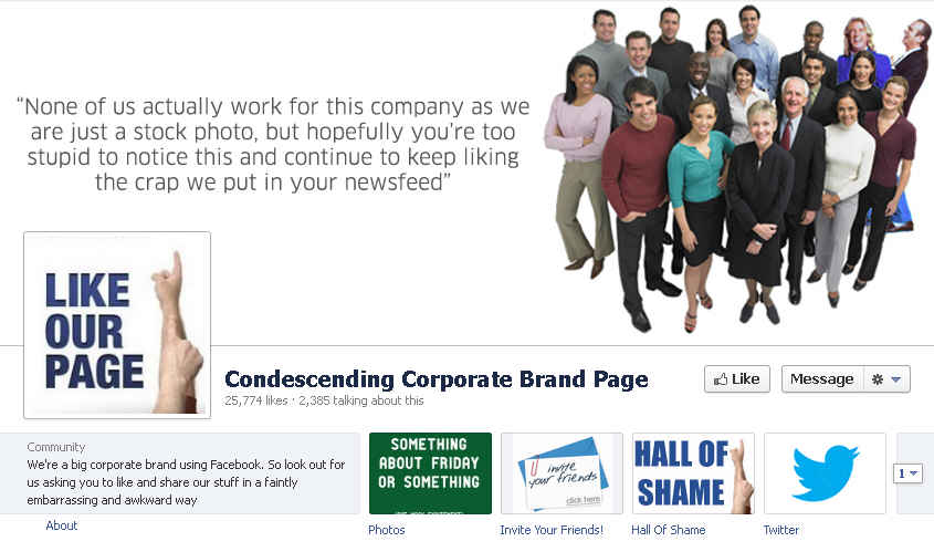 Condescending Corporate Brand Page