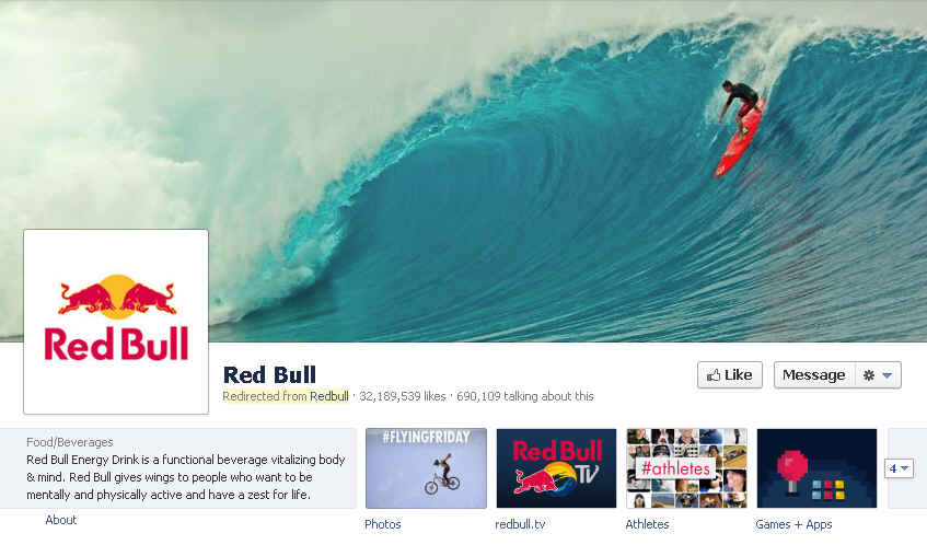 Redbull Facebook Page