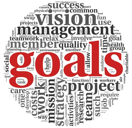 Goals in project and management concept in word tag cloud on white